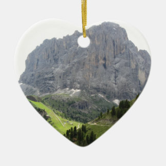 Panoramic mountain view Double-Sided heart ceramic christmas ornament