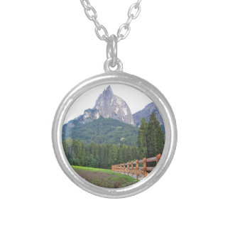 Panoramic mountain view silver plated necklace