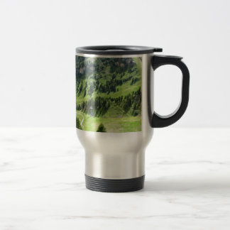 Panoramic mountain view travel mug