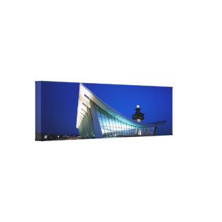 Panoramic Night Photo of Dulles Airport, Virginia Canvas Print