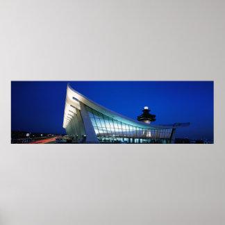 Panoramic Night Photo of Dulles Airport, Virginia Poster