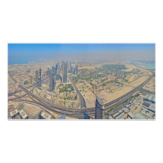 Panoramic of Dubai atop the Burj Khalifa Poster