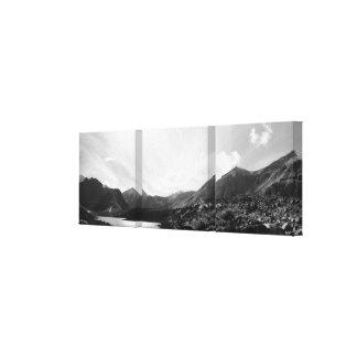 Panoramic of Symphony Lake, Alaska - Black & White Canvas Print