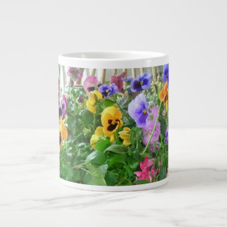 Panoramic Pansies Specialty Mug 20 Oz Large Ceramic Coffee Mug