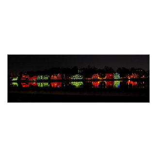Panoramic photo of Boathouse Row at Christmas Posters