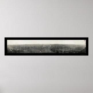Panoramic Pittsburgh Photo 1908 Poster