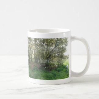Panoramic Raisin Tree Blossoms with dog Mug