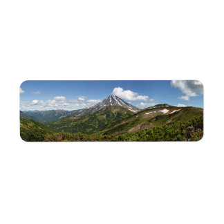 Panoramic summer volcano landscape of Kamchatka Label