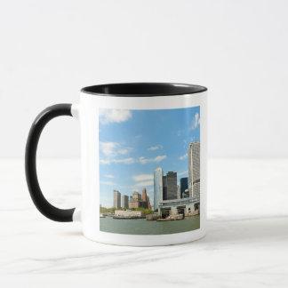 Panoramic view at skyscrapers and Battery park Mug