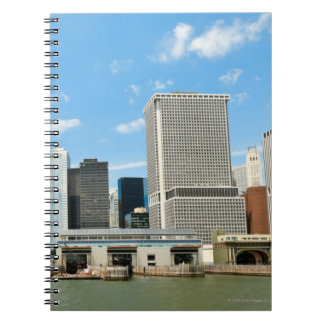 Panoramic view at skyscrapers and Battery park Spiral Notebook