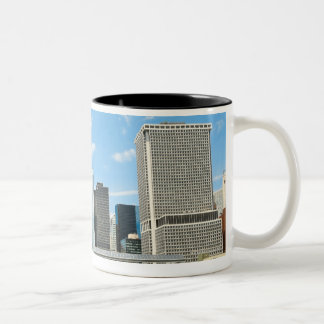 Panoramic view at skyscrapers and Battery park Two-Tone Coffee Mug