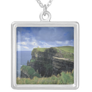 panoramic view of a cliff by the seaside silver plated necklace