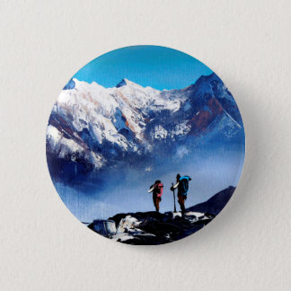 Panoramic View Of Ama Dablam Peak Everest Mountain Button
