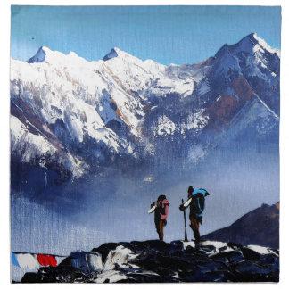 Panoramic View Of Ama Dablam Peak Everest Mountain Cloth Napkin