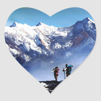 Panoramic View Of Ama Dablam Peak Everest Mountain Heart Sticker