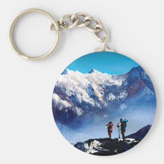 Panoramic View Of Ama Dablam Peak Everest Mountain Keychain