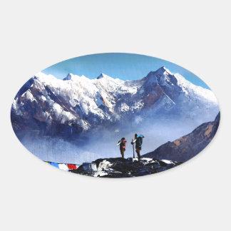 Panoramic View Of Ama Dablam Peak Everest Mountain Oval Sticker
