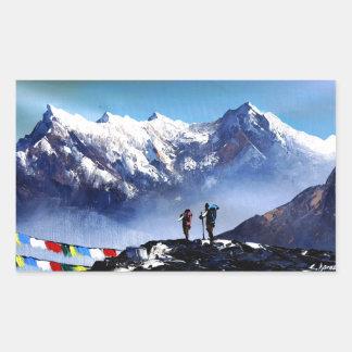 Panoramic View Of Ama Dablam Peak Everest Mountain Rectangular Sticker