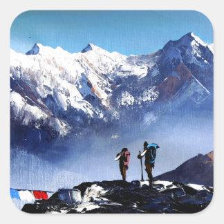 Panoramic View Of Ama Dablam Peak Everest Mountain Square Sticker