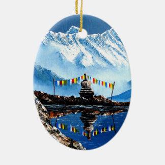 Panoramic View Of Annapurna Mountain Nepal Ceramic Ornament