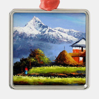 Panoramic View Of Beautiful Everest Mountain Metal Ornament