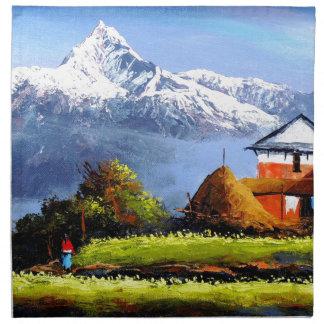 Panoramic View Of Beautiful Everest Mountain Napkin
