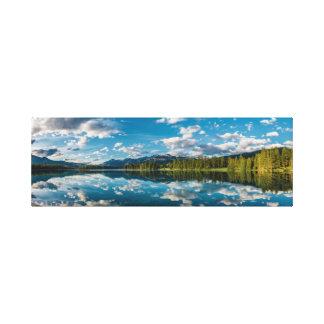 Panoramic view of Beauvert Lake in Jasper Canvas Print