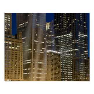 Panoramic view of buildings along the Chicago Poster