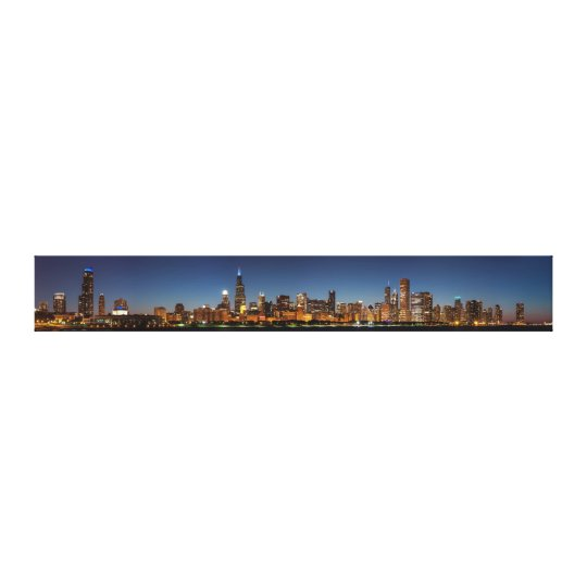 Panoramic view of Chicago Skyline at Night Canvas Print