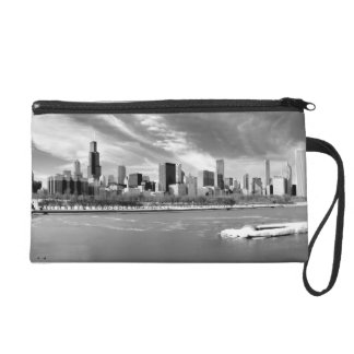 Panoramic view of Chicago skyline in winter Wristlet Clutches