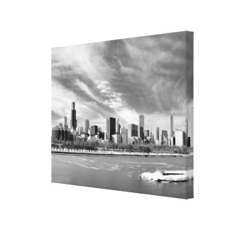 Panoramic view of Chicago skyline in winter Gallery Wrapped Canvas