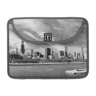 Panoramic view of Chicago skyline in winter MacBook Pro Sleeve