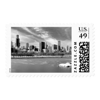 Panoramic view of Chicago skyline in winter Postage