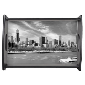 Panoramic view of Chicago skyline in winter Serving Tray