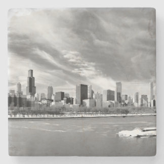 Panoramic view of Chicago skyline in winter Stone Beverage Coaster