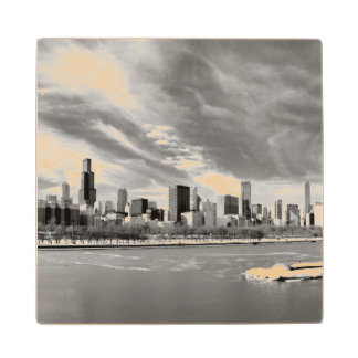 Panoramic view of Chicago skyline in winter Wooden Coaster
