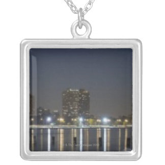 Panoramic view of Chicago's North Avenue Beach 2 Square Pendant Necklace