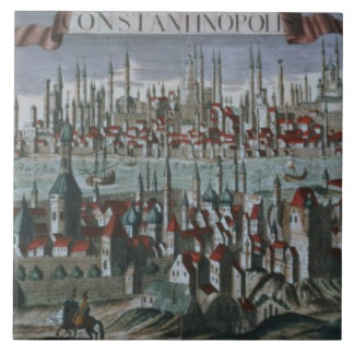 Panoramic view of Constantinople, late 18th centur Tile