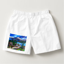 Panoramic View Of Everest Mountain Nepal Boxers