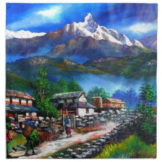Panoramic View Of Everest Mountain Nepal Napkin