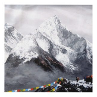 Panoramic View Of Everest Mountain Panel Wall Art