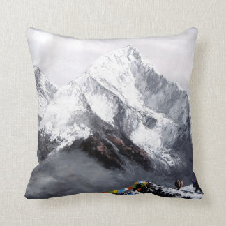 Panoramic View Of Everest Mountain Throw Pillow