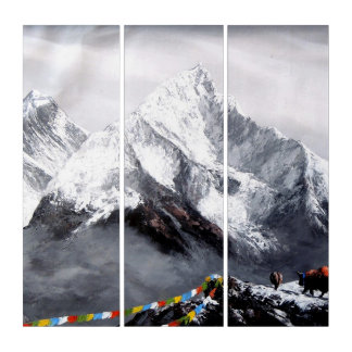 Panoramic View Of Everest Mountain Triptych