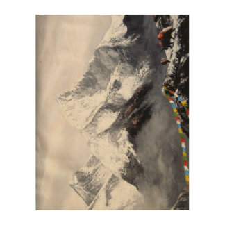 Panoramic View Of Everest Mountain Wood Print