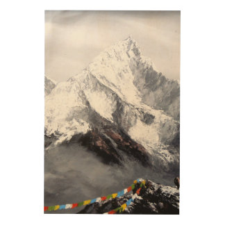Panoramic View Of Everest Mountain Wood Wall Art