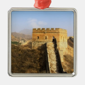 Panoramic view of Great Wall, China 2 Square Metal Christmas Ornament
