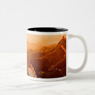 Panoramic view of Great Wall, China Two-Tone Coffee Mug
