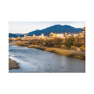 Panoramic view of Kamo River in Kyoto Canvas Print
