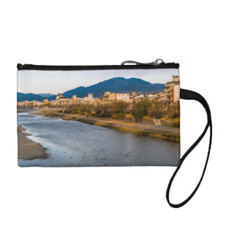 Panoramic view of Kamo River in Kyoto Change Purse