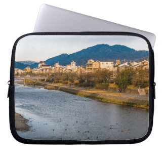 Panoramic view of Kamo River in Kyoto Computer Sleeve